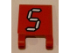 Part No: 2335pb106  Name: Flag 2 x 2 Square with White Number 5 with Black Outline on Red Background Pattern (Sticker) - Set 3569