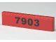 Part No: 2431pb095  Name: Tile 1 x 4 with Black '7903' on Red Background Pattern (Sticker) - Set 7903