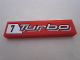 Part No: 2431pb202  Name: Tile 1 x 4 with '7 Turbo' on Red Background Pattern (Sticker) - Set 8495
