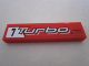 Part No: 2431pb202L  Name: Tile 1 x 4 with '7 Turbo'  and 'KYOTO POWER' on Red Background Pattern Model Left Side (Sticker) - Set 8495