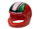 Part No: 2446pb05  Name: Minifigure, Headgear Helmet Motorcycle (Standard) with Black, Green and White Stripes Pattern