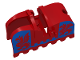 Part No: 2490pb02  Name: Horse Barding, Ruffled Edge with Blue Dragons (Blue on Red) Pattern