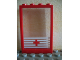 Part No: 2493c01pb02  Name: Window 1 x 4 x 5 with Trans-Clear Glass with 5 White Stripes and Red Cross Pattern (Sticker) - Set 6380
