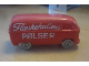 Part No: 258wpb16  Name: HO Scale, VW Van with Red Base - Completely Colored Top with Flæskehallens Pølser Pattern