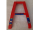 Part No: 2635pb09  Name: Support Crane Stand Double with 'DANGER', 'MAX 100', and '10 m' on Blue Background Pattern (Stickers) - Set 4557