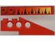 Part No: 2744pb001  Name: Technic Slope Long with Tiger Stripes and Yellow-up-to-Red Fade Pattern Right (Sticker) - Set 8229