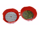 Part No: 29632c02pb01  Name: Container, Pod with Light Bluish Gray 6 x 6 Round Plate and Dark Bluish Gray 1 x 2 Plate with The LEGO Ninjago Movie Pattern (Stickers) - Set 5004916