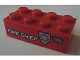 Part No: 3001pb098R  Name: Brick 2 x 4 with White 'FIRE CHIEF' and Silver Badge Pattern Model Right Side (Sticker) - Set 8154