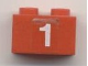 Part No: 3004pb039  Name: Brick 1 x 2 with White '1' Pattern (Sticker) - Set 7715