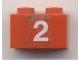Part No: 3004pb040  Name: Brick 1 x 2 with White '2' Pattern (Sticker) - Set 7715