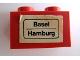 Part No: 3004pb065  Name: Brick 1 x 2 with 'Basel - Hamburg' Pattern (Sticker) - Set 164