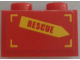 Part No: 3004pb157R  Name: Brick 1 x 2 with 'RESCUE' on Yellow Arrow Pattern Model Right Side (Sticker) - Set 60010