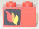 Part No: 3004pb170L  Name: Brick 1 x 2 with Classic Fire Logo Pattern Left Side (Sticker)