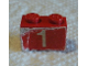 Part No: 3004pb208  Name: Brick 1 x 2 with Number 1 on Red Background Pattern (Sticker) - Set 590