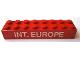 Part No: 3007pb04  Name: Brick 2 x 8 with 'INT. EUROPE' Pattern (Sticker) - Set 727