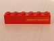 Part No: 3009pb067  Name: Brick 1 x 6 with Yellow 'LONDON TRANSPORT' Text on Red Background Pattern Right (Sticker) - London Bus