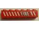Part No: 3009pb203R  Name: Brick 1 x 6 with White Stripes and 'FIRE' Pattern Model Right Side (Sticker) - Set 7046