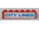 Part No: 3009pb214  Name: Brick 1 x 6 with Blue 'CITY LINES' on White Background Pattern (Sticker) - Set 7994