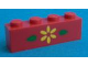 Part No: 3010pb018  Name: Brick 1 x 4 with Yellow Flower and 2 Green Leaves Pattern