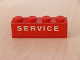 Part No: 3010pb063  Name: Brick 1 x 4 with White 'SERVICE' Text on Red Background Pattern (Sticker) - Set 646