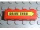 Part No: 3010pb090  Name: Brick 1 x 4 with Black 'DRIVE THRU' on Yellow Arrow Pattern (Sticker) - Set 3438