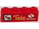 Part No: 3010pb184R  Name: Brick 1 x 4 with Octan Logo, 'Tele', and 'CB' Pattern Model Right Side (Sticker) - Set 60084