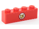Part No: 3010pb268  Name: Brick 1 x 4 with Gold Hogwarts Logo in White Circle on Red Background Pattern (Sticker) - Set 75955