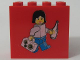 Part No: 30144pb007  Name: Brick 2 x 4 x 3 with Female Minifigure with Bottle and Suitcase with Euro Coins Pattern (Legoland Deutschland Deposit Brick)