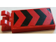 Part No: 30350bpb046  Name: Tile, Modified 2 x 3 with 2 Clips with Black and Red Chevron Stripes Pattern (Sticker) - Set 60027