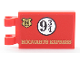 Part No: 30350bpb085  Name: Tile, Modified 2 x 3 with 2 Clips with Gold Hogwarts Logo, Black '9 3/4' and Gold 'HOGWARTS EXPRESS' on Red Background Pattern (Sticker) - Set 75955