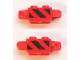 Part No: 30386pb08  Name: Hinge Brick 1 x 2 Locking, 9 Teeth with Black and Red Danger Stripes Pattern on Both Sides (Stickers) - Set 60161