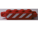 Part No: 30387pb016  Name: Hinge Brick 1 x 4 Locking, 9 Teeth with Red and White Danger Stripes Pattern on Both Sides (Stickers) - Set 60181