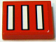 Part No: 3068bpb0066  Name: Tile 2 x 2 with Groove with 3 White Bars with Black Outline on Red Pattern (Sticker) - Set 2556