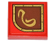 Part No: 3068bpb0794L  Name: Tile 2 x 2 with Groove with Gold Swirl on Brown Left Rounded Background Pattern (Sticker) - Set 79108
