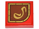 Part No: 3068bpb0794R  Name: Tile 2 x 2 with Groove with Gold Swirl on Brown Right Rounded Background Pattern (Sticker) - Set 79108