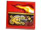 Part No: 3068bpb0997R  Name: Tile 2 x 2 with Groove with Flame and Gold Mechanical Pattern Model Right Side (Sticker) - Set 70600