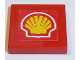 Part No: 3068bpb1070  Name: Tile 2 x 2 with Groove with Shell Logo on Red Background Pattern (Sticker) - Set 8362