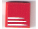 Part No: 3068bpb1197  Name: Tile 2 x 2 with Groove with 3 White Stripes on Red Background Pattern (Sticker) - Set 75876