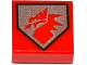 Part No: 3070bpb105  Name: Tile 1 x 1 with Groove with Red Dragon Head on Silver Pentagonal Shield Pattern