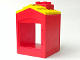 Part No: 31028pb03  Name: Duplo Building with Chimney, Cutout for Door / Window and Yellow Shingles Pattern