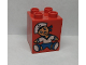 Part No: 31110pb019  Name: Duplo, Brick 2 x 2 x 2 with Blue Doll Pattern