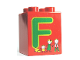 Part No: 31110pb048  Name: Duplo, Brick 2 x 2 x 2 with Letter F and Family Pattern