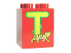 Part No: 31110pb062  Name: Duplo, Brick 2 x 2 x 2 with Letter T and Tiger Pattern