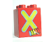Part No: 31110pb066  Name: Duplo, Brick 2 x 2 x 2 with Letter X and Xylophone Pattern