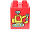 Part No: 31110pb132  Name: Duplo, Brick 2 x 2 x 2 with Yellow and Medium Azure Toy Excavator Pattern (10845)