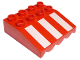 Part No: 31170px1  Name: Duplo Roofpiece Slope 33 4 x 4 with Awning Overhang and 3 White Stripes Long Pattern