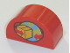Part No: 31213pb018  Name: Duplo, Brick 2 x 4 x 2 Curved Top with Box and Arrows and Globe Pattern