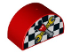 Part No: 31213pb032  Name: Duplo, Brick 2 x 4 x 2 Curved Top with Checkered Flag and Crossed Tools with Mouse Ears Pattern