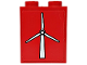 Part No: 3245bpb31  Name: Brick 1 x 2 x 2 with Inside Axle Holder with White Wind Turbine Pattern on Red Background (Sticker) - Set 7747