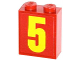 Part No: 3245cpb022  Name: Brick 1 x 2 x 2 with Inside Stud Holder with Yellow Number 5 Pattern (Sticker) - Set 60061
